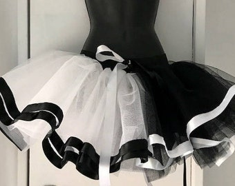 Black White Harlequin tutu skirt Burlesque Halloween all sizes available.