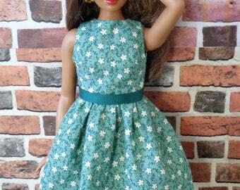 Green Vintage Floral Print Dress w/ Belt for Curvy Barbie or similar fashion doll