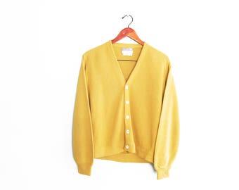 vintage cardigan / grandpa cardigan / mustard cardigan / 1970s mustard yellow grunge cardigan Medium