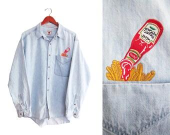 vintage denim shirt / junk food shirt / 90s button up / 1990s denim Heinz Ketchup and fries snackwave shirt Large