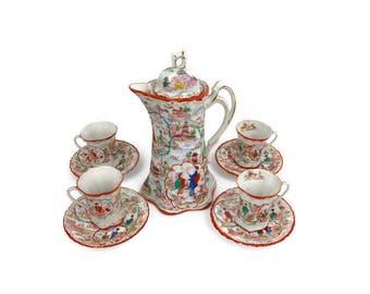 Vintage Geisha Chocolate Pot Set Teacups Saucers Japan Hand Painted Moriage Flowers Eggshell Porcelain Japanese Scene Coffee Tea