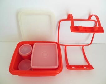 Tupperware Junior Pack N Carry Child's Lunch Kit Bright Poppy Red Complete 11 Piece Vintage Set Number 1513-2