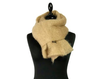Camel coloured soft mohair scarf - voluminous and warm - shawl for women and men