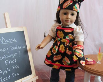 """Chef Cooking/Baking Ensemble (Apron, Hat, Oven Mitt) for 18"""" Doll American Made"""