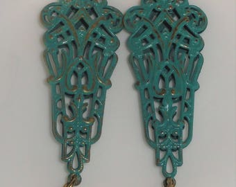 Art Nouveau Ornate Filigree Verdigris Patina & Blue Rivoli Rhinestone Drop Pierced Dangle Earrings