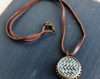 Chevron Blue Clay Trumpet Valve Necklace