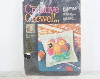 Vintage Creative Crewel Pansy Flower design pin cushion on linen