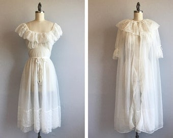 Vintage 1950s Lingerie / 50s Van Raalte Sheer White Lace Negligee Set Nightgown Peignoir Set