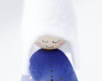Blue Snowflake Cornish Pixie Elf Wooden Decoration