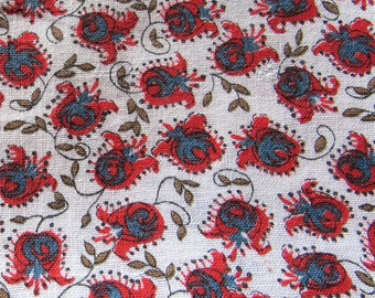 vintage FULL feed sack fabric -- red floral print