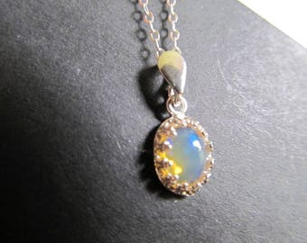 Genuine Opal Necklace Ethiopian Opal Necklace Silver Welo Opal Necklace Moonstone Sterling Necklace Fire Opal Necklace Opal Jewelry- Glow