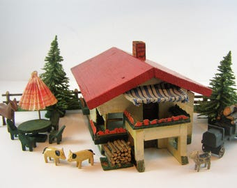 1945 Primitive Handcrafted Miniature German Mountain Chalet Scene. Simply add Snow/Decorations/Lights for Christmas/Snow/Ski Outdoor Scene.