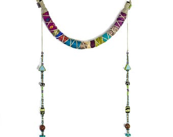 Beaded Tassel Necklaces, Textile Jewelry, Gypsy Boho Jewelry, Hippie Jewelry, Bohemian Jewelry, Colorful Tassel Necklace, African Necklace