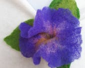 Brooch flower, Purple Blue Petunia with three green leaves, fine felted brooch pin hairclip, merino wool felt, handmade, unique gift for her