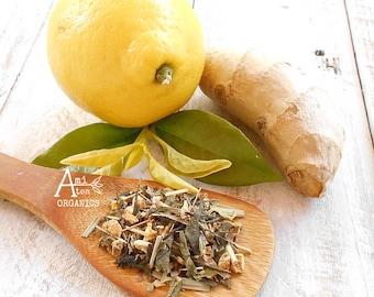 Tea, Organic Green, LEMON GINGER, Whole Leaf, Hand Blended, Lemon Tea, Iced  Tea, Refreshing, No Flavors Added, Caffeinated, 2oz Full Ounces