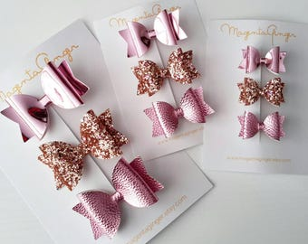 Rose and Gold Hair Bow Sets - clips or headbands - Baby headband, bow hairclips, rose pink bows, gold hair bows.