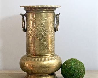 Vintage Brass Umbrella Stand Holder Ring Handles Persian Turkish Moroccan Rustic Chic Apartment Decor