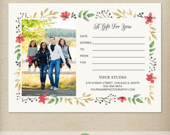 5x7 Digital or Print Gift Certificate Template, Gift Card, Photography Gift, One-Side, Single-Side, Christmas, Holiday, Watercolor - GC11
