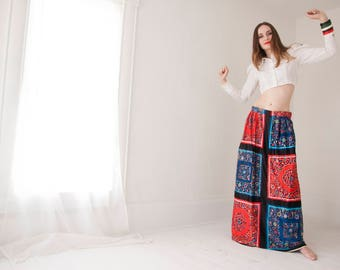 Vintage maxi skirt, red blue black patchwork boho floral colorful rainbow glitter, A-line, S M L XL tall long