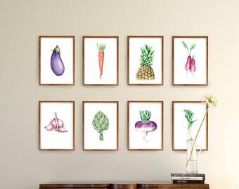 Set watercolor vegetables and fruit print, set amount, set option, modern print set, food print wall art, watercolor print, choose set, sets