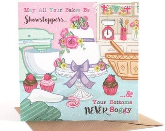 Funny Card  - Cake Greetings Card - Birthday Card - Friendship Card - Notecard - Baking Card - Great British Bake Off Card - Soggy Bottoms