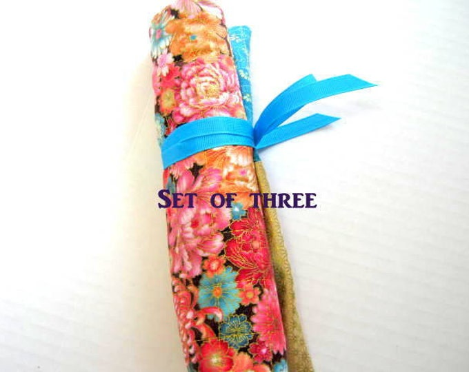 Flowers Quilted Crochet or Double Pointed Needles Roll Organizer -  Set of Three