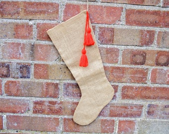 Christmas Stocking with Tassels Detail, Cream Stocking, Holiday Decor