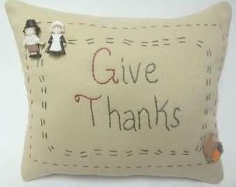 Thanksgiving Give Thanks Embroidered Mini Pillow Shelf Pillow