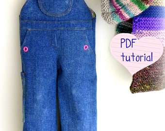 "Doll clothing sewing PATTERN ,  Waldorf doll , denim overalls for 18-20"" dolls"