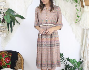 Tribal Japanese Vintage Dress, Pleated Aztec Shirtdress, Small 3919