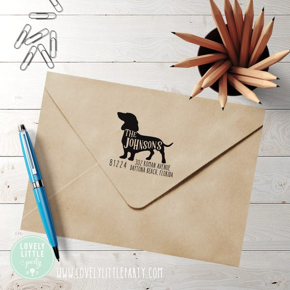 Dachshund custom self inking address stamp, Weiner Dog Address Stamp style 301 - Lovely Little Party