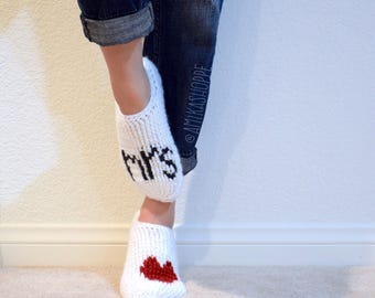 CUSTOM - MRS + HEART Socks - cozy women's sock - wedding day socks - newlywed slippers - crocheted mrs - miss to mrs - bridal shower gift