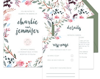Botanical Wedding Invitation Suite (Invite, RSVP & Detail Card)