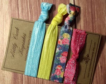 Elastic Bow Hair Tie Set of 4 * Pink Sparkle Hairties * Blue Floral Elastic Hair Bands * Yellow No Crease Hair Tie * Hair Band Bracelet
