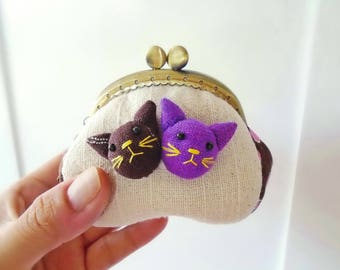 Coin purse / Cat purse / Metal frame purse
