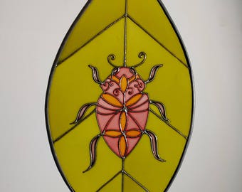 Beetle stained glass