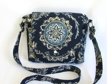 Small messenger- Indigo blue floral medallion canvas