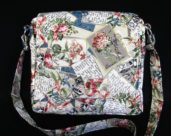 Large messenger bag- Vintage and postage cotton print