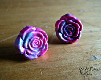 Clous d'oreilles 15 mm en Pâte polymère et tiges en inox // Ear studs 15 mm in pink and gray polymer clay and stainless steel rods