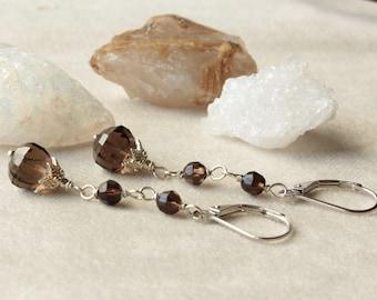 Smokey Quartz Earrings, sterling silver wire wrap, black-brown gemstone, dangle boho earrings, holiday gift for her, ALIRA earrings, 4452