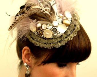 "Vintage style fascinator dusky purple and brown ""Victoria Vintage"""