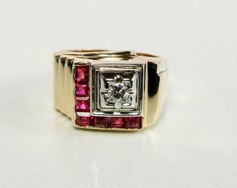 Ruby and Diamond Ring, Retro Ruby and Diamond Ring, Vintage Ruby and Diamond Ring, Art Deco Ring, Statement Ring