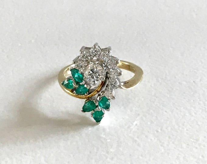 Emerald and Diamond Cocktail Ring, Cocktail Ring, May Birthstone Ring, Emerald and Diamond Cluster Ring, Emerald and Diamond Ring