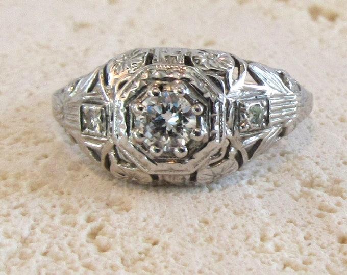 White Gold Filigree Ring, Antique Filigree Ring, Diamond Filigree Ring, Antique Engagement Ring, Diamond Ring, Vintage Filigree Ring