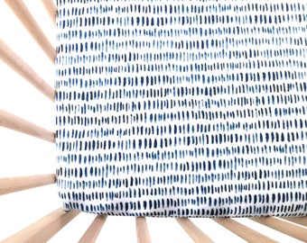 Crib Sheet Watercolor Navy Tallies. Fitted Crib Sheet. Baby Bedding. Crib Bedding. Minky Crib Sheet. Crib Sheets. Navy Crib Sheet.