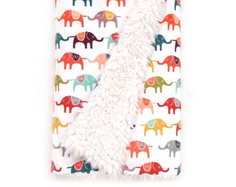 Baby Blanket Colorful Elephants. The Cloud Blanket. Faux Fur Baby Blanket. Minky Baby Blanket. Elephant Baby Blanket.