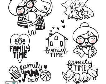 Planner Girl - Family Time Stamp Clipart - Planner Stickers, scrapbook , card design, invitations, paper crafts, web design INSTANT DOWNLOAD