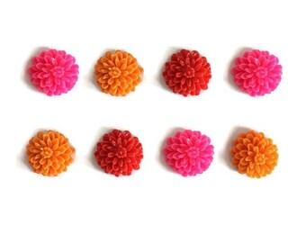 Floral Magnets + Tin / Flower Magnets / Fridge Magnets / Refrigerator Magnets / Pink Red Orange Magnets / Neon Magnets / Resin Flower Magnet