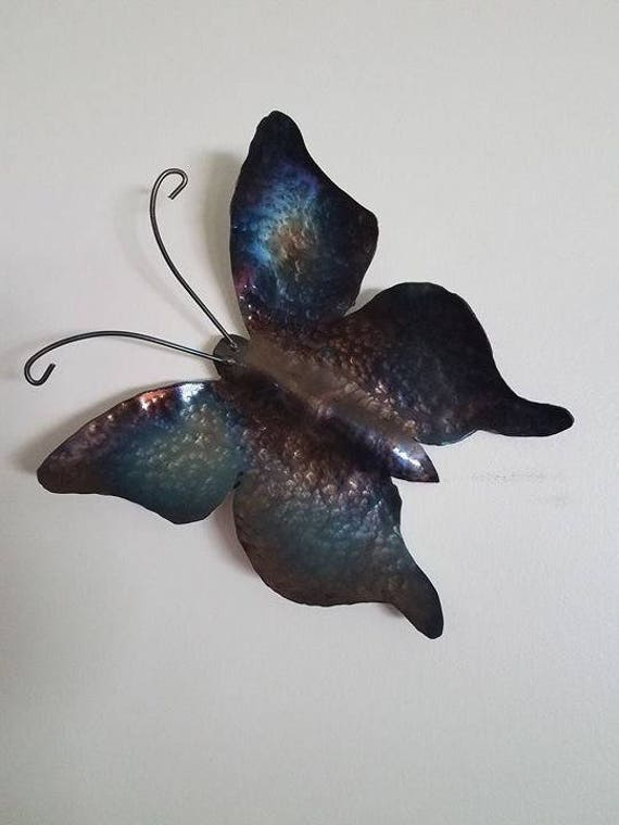 Nature inspired - Blue butterfly - wall sculpture - nature girl gift - gardener wife - hand hammered steel, Indoor wall decor - small gifts