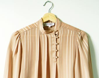 Vintage Romantic Sheer Striped Tunic Blouse / Pleated Front Asymmetrical Button Blouse / Sheer Drapey Blouse in Buff Neutral Khaki